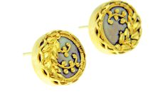 vintage button gold plated stud earrings
