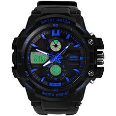 Goasa Multi Function Military Sshock Sports Watch LED Analog Digital Waterproof Alarm Blue ** Click image to review more details.Note:It is affiliate link to Amazon.