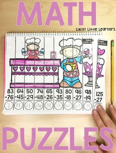 February Math Puzzles are a great option for your early finishers, math centers, enrichment opportunities, morning work, or even intervention groups. Each puzzle focuses on a math skill. There are 10 pieces to each puzzle. Each puzzle piece has a math problem for the student to solve. Then the student assembles the puzzle by putting their pieces in order from least to greatest. The math skills covered in these puzzles are: Addition, Subtraction, Multiplication, 1 More/1 Less and 10 More/10…