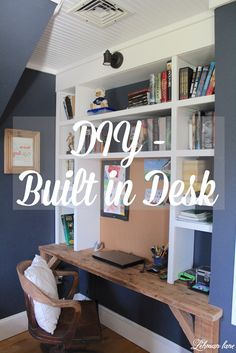 Hi everybody! I am back today to share the built in desk we added to our oldest's room. If you have been following along you know that we gutted his…