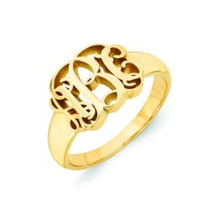 Roy Rose Jewelry 14K Yellow Gold Open Back Mens or Womens Ridged Sides Signet Ring Custom Personailzed with Free Engraving Available Initial or Monogram