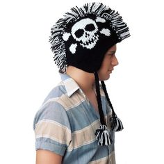Mohawk Skull Black White, $18, now featured on Fab.