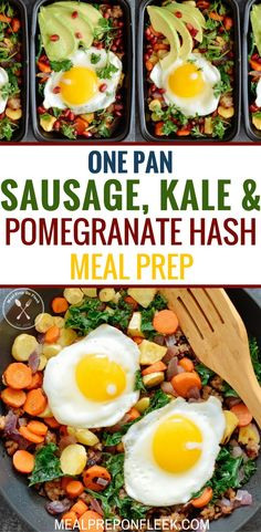 This breakfast meal prep recipe for Sausage, Kale & Pomegranate Hash Meal Prep comes together in just minutes and tastes amazing! Paleo Meal Prep, Lunch Meal Prep, Easy Meal Prep, Easy Meals, Keto Meal, Dinner Meal, Paleo Diet, Low Carb Dinner Recipes, Lunch Recipes