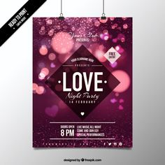 Cute lights valentine poster Free Vector