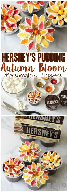 Hershey's Pudding Autumn Bloom Marshmallow Toppers - Butter With A Side of Bread #ReadySetSnack #ad