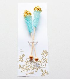 DIY Gold Dipped Rock Candy Sticks - great coworker gift idea with FREE printable!