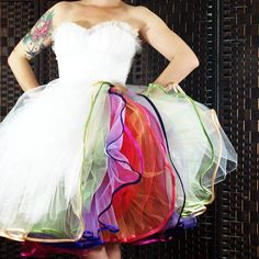 DIY petticoat, really simple to read instructions and pictures, plus such a great idea, rainbow petticoat!