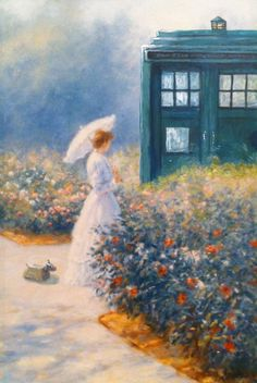 Love it!  (Altered Art: Woman and TARDIS in garden by ~csgirl on deviantART)