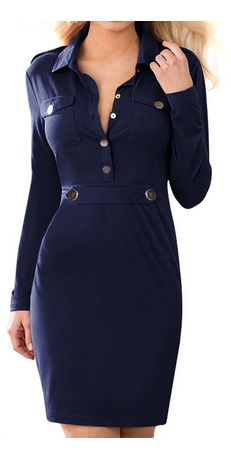 Women's Vintage Navy Style Long Sleeve Pencil Dress