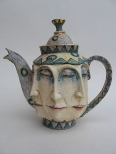 "Ceramic tea pot by: Amanda Popham.  Reminds me of something that would be from ""Alice in Wonderland"""