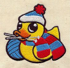 "Embroidery Designs at Urban Threads - Knitting Duckie (#UT2553) 2.83""w x 2.79""h 13 August 2010"