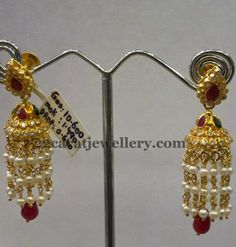 Latest Collection of best Indian Jewellery Designs. Diamond Earrings Indian, Gold Jhumka Earrings, Gemstone Earrings, Earings Gold, Diamond Jhumkas, Gold Earrings For Women, Gold Earrings Designs, Gold Jewellery Design, Jhumka Designs
