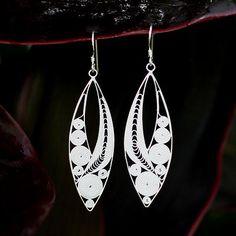 Sterling Silver Filigree Earrings - Silver Tendrils | NOVICA