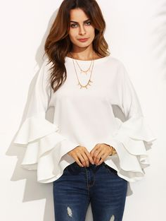 Online shopping for White Round Neck Ruffle Long Sleeve Blouse from a great selection of women's fashion clothing & more at MakeMeChic.COM.