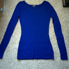 Express Cobalt Blue light Sweater Worn once or twice. Very stretchy. Great color! A light sweater. Express Sweaters Crew & Scoop Necks