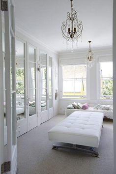 I love the white bench and the wall of mirrored closet space would be so cute in a girls room. blackish walls and fuzzy fluffy carpet. grays