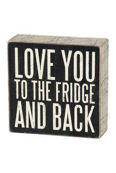 True Love. Fridge & Back Box Sign.