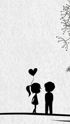 Love Cute Cartoon Little Couple #iPhone #5s #wallpaper