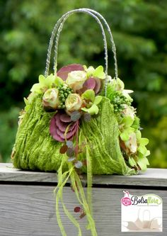 Beautiful green floral purse