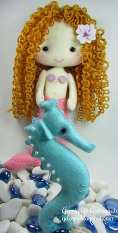 "what a sweet, little mermaid...i love her ""wringlets"". (her seahorse, too!)..."