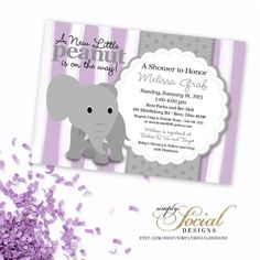 Elephant Baby Shower Invitation Lilac by SimplySocialDesigns