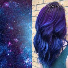 Best Galaxy Hair Ideas Dream Hair, Hair Today, Pretty Hairstyles, Hair Inspo, Happy 40th, Blue Purple Hair, Blue Hair Dyes, Hair Color Blue, Pretty Hair Color