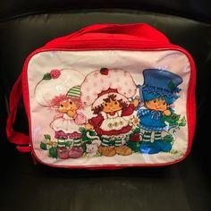 Strawberry Shortcake Nylon Travel Tote Bag Purse Long Strap Zippered 2005 Red #StrawberryShortcake #TravelBag