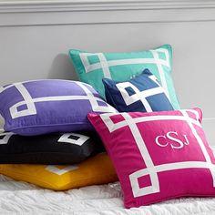Ribbon Trim Monogram Pillow Cover | PBteen
