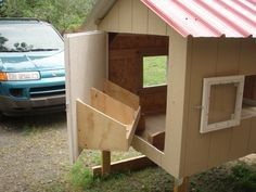 Building a Chicken Coop CHICKEN COOP...good idea! and the bedding wont spill out! great for DOG HOUSE CONVERSIONS!! YAY!! Building a chicken coop does not have to be tricky nor does it have to set you back a ton of scratch.