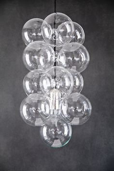 House Doctor DIY lamp consists of a socket with lamp and 12 glass spheres House Doctor, Globe Ceiling Light, Lamp Light, Ceiling Lights, Diy Light, Glass Chandelier, Pendant Lighting, Bubble Chandelier, Interior Lighting