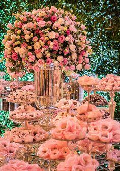 Prom Decor, Wedding Stage Decorations, Wedding Ceremony Backdrop, Diy Birthday Decorations, Large Flower Arrangements, Flower Centerpieces, Wedding Centerpieces, Cookie Table Wedding, Dessert Bar Wedding