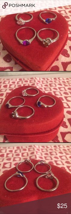 Woman's ring bundle Silver tone bands , purple, red , pink and dark blue stone Jewelry Rings