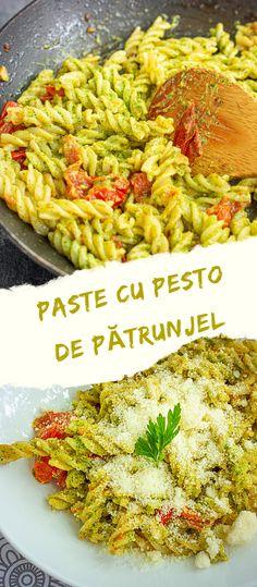 Ce ne salvează pe noi toți atunci când nu știm ce să gătim repede, bun, gustos, hrănitor și cu ceea ce găsim la prima vedere prin casă? Exact, pastele!🙂 Paste cu pesto de pătrunjel, o rețetă super-simplă și ultra-rapidă, dar atât de plină de arome! Pur și simplu, delicios! 🙂 #pastecupesto #retetedepaste #pesto #pestodepatrunjel #sospesto #pastecusos #celemaibunepaste #fusilli #bucatearomate #reteterapide #retetesimple Minute, Ratatouille, Paella, Pesto, Food And Drink, Pizza, Ethnic Recipes, Red Peppers