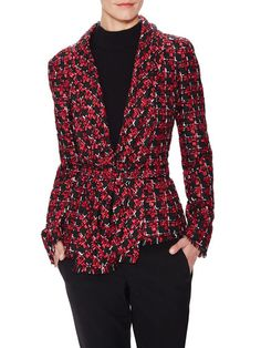 Belted Tweed Shawl Jacket by Oscar de la Renta at Gilt