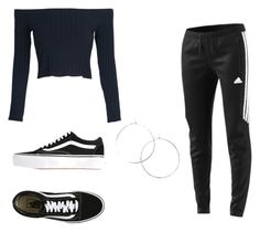 """All black everything"" by kamilapytlarz on Polyvore featuring moda, WithChic, adidas i Vans"