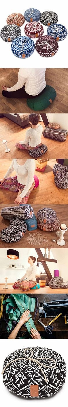 "Yoga bolster »Vishnu« with drawstring and organic spelt hull (certified organic produce) /approx. 5.9"" x 11.8"" – ideal as yoga cushion / zafu cushion / meditation cushion mat Style (5)"
