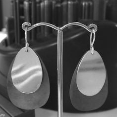 These beautiful oxidised sterling silver earrings were handmade by Kate in todays Design Your Own Silver Earrings Workshop.