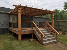 East Memphis Deck / Pergola This Choice-Dek deck is the perfect complement .East Memphis Deck / Pergola This Choice-Dek deck is the perfect addition to this back yard. We built the deck, the cedar handrails Deck Pergola, Diy Deck, Modern Pergola, Small Pergola, Cheap Pergola, Pergola Ideas For Deck, Pergula Deck, Back Deck Ideas, Porch With Pergola