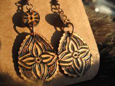 Woodburned Flower Earrings