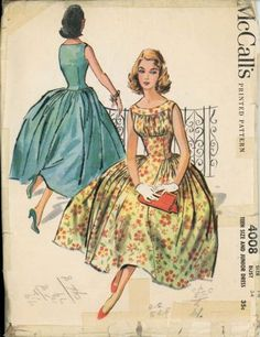 McCalls4008.jpg Vestido Dior, Vintage Fashion 1950s, Vintage Vogue, Vintage Style, 1950s Dress Patterns, Dress Making Patterns, Mccalls Patterns, Vintage Sewing Patterns, Clothing Patterns