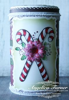 Candy Cane Tin decorated with Heartfelt Creations products and colored with Spectrum Noir markers Christmas Paper, Christmas Themes, Christmas Crafts, Xmas, Candy Cane Decorations, Heartfelt Creations Cards, Creation Crafts, Ppr, Jar Gifts