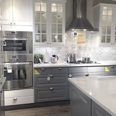 Loving this @ikea showroom kitchen • #ikea Color scheme, layout, flooring and appliances....just want a shaker style cabinet door, modern hardware and herringbone backsplash