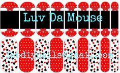 Luv Da Mouse.  A Mickey Mouse inspired vinyl nail wrap design.