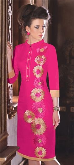440795 Pink and Majenta  color family Kurti in Chanderi fabric with Machine Embroidery, Patch work .