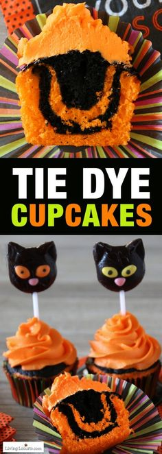 Halloween Cupcakes an Easy Tie Dye Cake Recipe. Turn your Halloween cupcakes into the most spooktacular treats by making tie dyed cake. Orange and black tie dye cupcakes with black cat lollipops. Shared by Where YoUth Rise Halloween Desserts, Halloween Cupcakes, Halloween Treats, Halloween Halloween, Halloween Baking, Halloween Activities, Cupcake Recipes, Cupcake Cakes, Dessert Recipes