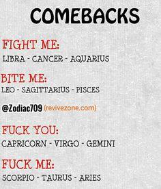 combacks of zodiac signs, aries, taurus, gemini, cancer, leo, virgo, libra, scorpio, sagittarius, capricorn, aquarius, pisces