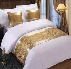 RAYUAN Golden Floral Bedspreads Bed Runner Throw Bedding Single Queen King Bed Cover Towel Home Hotel Decorations Bed Cover Design, Bed Linen Design, Gold Bedroom, Bedroom Decor, Draps Design, Dream Catcher Bedding, King Bed Covers, Rideaux Design, Bed Scarf