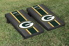 Green Bay Packers NFL Football Cornhole Game Set Onyx Stained Stripe Version 2