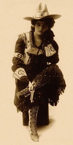 """The rough-riding talents of Lulu Parr were not first seen at Buffalo Bill's Wild West. Her skill with the gun caught the attention of Pawnee Bill, who signed her to his show in 1903. She left that show but came back in 1911. By that time, Pawnee Bill had joined Buffalo Bill's show. Buffalo Bill was so in awe of Lulu's willingness to ride unbroken ponies that he presented her with an ivory-handled Colt single-action revolver, engraved with """"Buffalo Bill Cody to Lulu Parr—1911."""""""