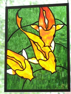 Stained Glass Koi Panel Window Art Fish: Made to Order. $190.00, via Etsy.